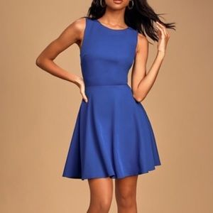 Lulu's NWT Just Us Royal Blue Skater Dress